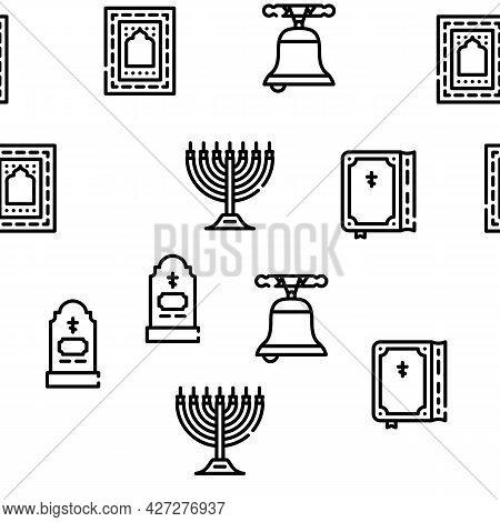 Religion Holy Praying Vector Seamless Pattern Thin Line Illustration