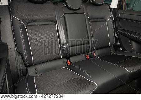 Novosibirsk, Russia - July 07, 2021:   Renault Arkana, Comfort Car Inside. Clean Car Interior: Black