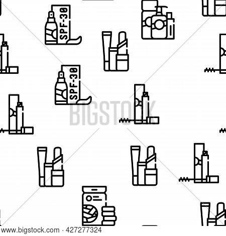 Beauty Products Makeup Vector Seamless Pattern Thin Line Illustration