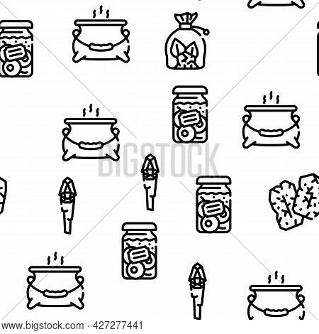 Magic Mystery Objects Vector Seamless Pattern Thin Line Illustration