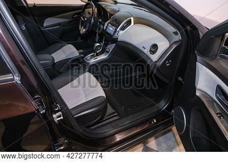 Novosibirsk, Russia - July 07, 2021:   Chevrolet Cruze, Car Interior - Steering Wheel, Shift Lever A