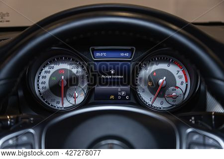 Novosibirsk, Russia - July 07, 2021:   Mercedes-benz Gla-class, Round Speedometer, Odometer With A R