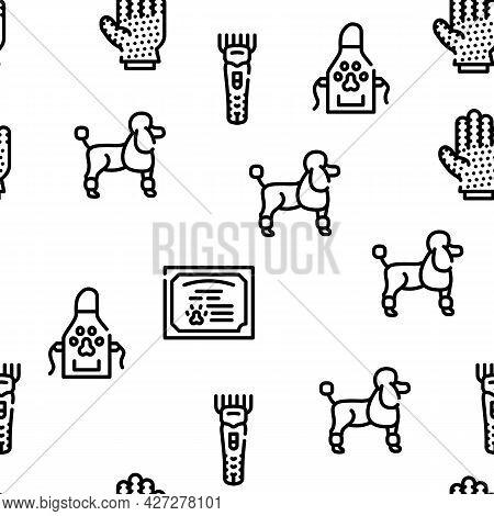 Groomer Pet Service Vector Seamless Pattern Thin Line Illustration