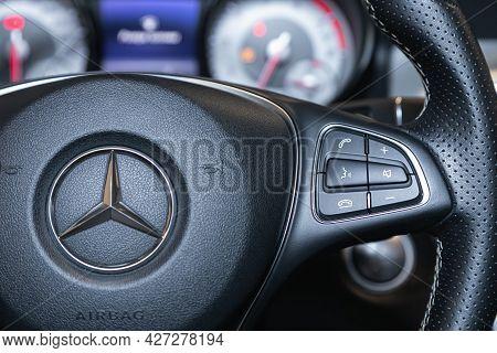 Novosibirsk, Russia - July 07, 2021:   Mercedes-benz Gla-class, Black Steering Wheel With Multifunct