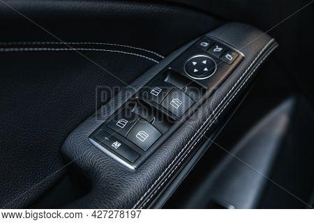Novosibirsk, Russia - July 07, 2021:   Mercedes-benz Gla-class, Interior Of Modern Car. Side Door Bu