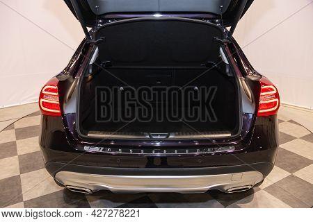 Novosibirsk, Russia - July 07, 2021:   Mercedes-benz Gla-class, Big Trunk Open In A Suv Car.