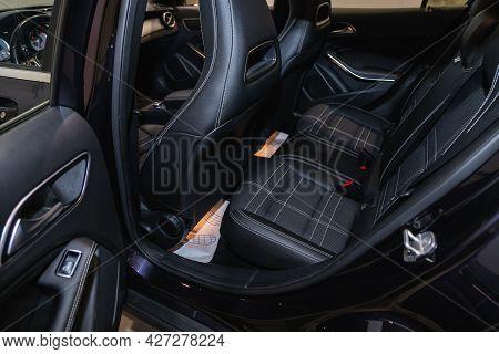 Novosibirsk, Russia - July 07, 2021:   Mercedes-benz Gla-class, Comfort Car Inside. Clean Car Interi