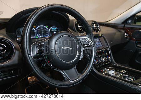 Novosibirsk, Russia - July 07, 2021:   Jaguar Xj , Modern Car Interior View With Dashboard, Multifun