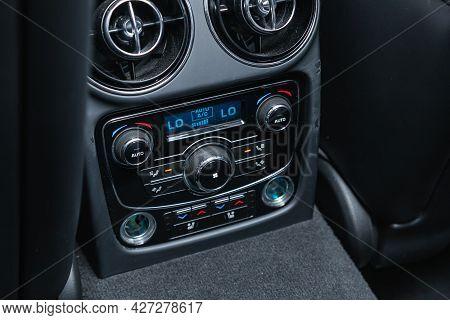 Novosibirsk, Russia - July 07, 2021:   Jaguar Xj , Close Up Instrument Automobile Panel With  Climat