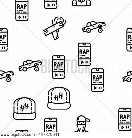 Hip Hop And Rap Music Vector Seamless Pattern Thin Line Illustration