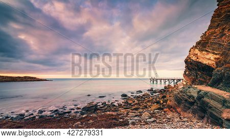 Second Valley Shore With  The Jetty At Dusk, South Australia