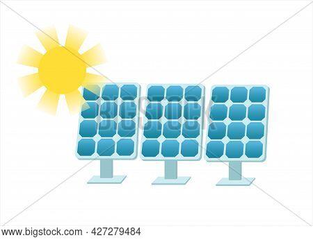 Solar Batteries And The Sun. Photovoltaic Panels. Solar Cells. Sun Energy Concept. Isolated Flat Vec