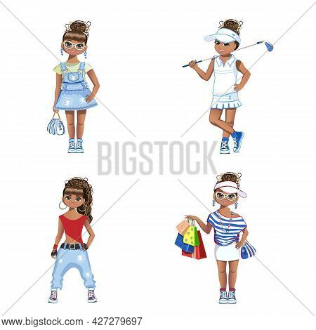 A Beautiful Black Girl In Different Looks And Clothes, At Work And On Vacation. Sweet Fashionista. V