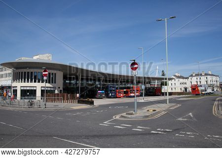 The Bus Station In Gloucester In Gloucestershire In The Uk, Taken On The 24th April 2021