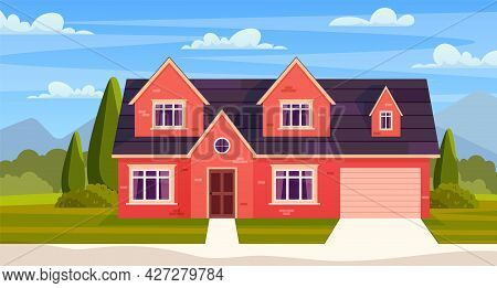 Suburban House, Residential Cottage, Real Estate Countryside Building Exterior. Suburban Home Facade