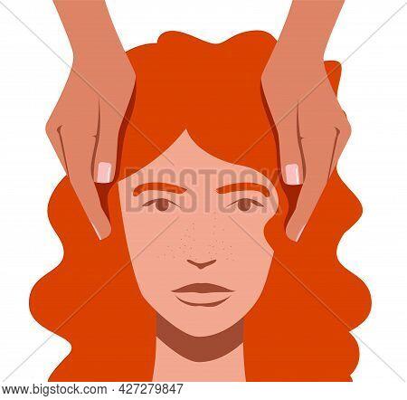 Reiki Healing Vector Flat Design Illustration. Palm Healing Scene. Hands Surround Woman's Head.