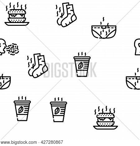 Smell Feel And Sense Vector Seamless Pattern Thin Line Illustration