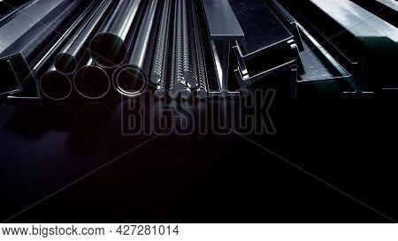 Lighting Rolled Metal And Rebar , Digital Industrial 3d Illustration