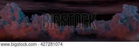 Cute Panoramic Cumulus At Night Backdrop - Cgi Nature 3d Rendering