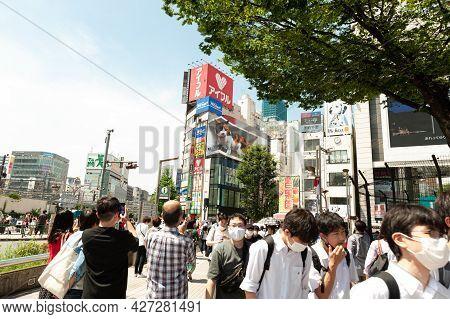 Shinjuku City, Tokyo, Japan - July 10, 2021: Giant Cat In Stunning Ultra-realistic 4k Digital Screen
