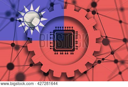 Cpu Microprocessor Icon In Gear And Flag Of Taiwan