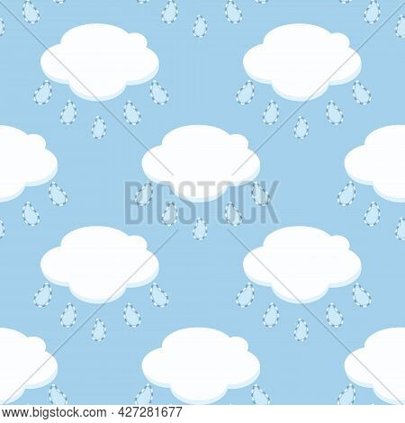 Vector White Clouds With Paisley Shaped Raindrops Seamless Pattern Background. Perfect For Fabric, S