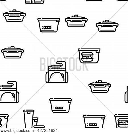 Lunchbox Dishware Vector Seamless Pattern Thin Line Illustration