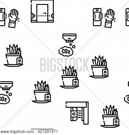 Sensor Electronic Tool Vector Seamless Pattern Thin Line Illustration