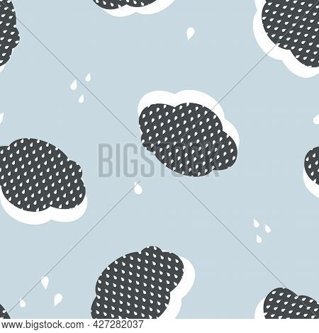 Vector Retro Sky With Clouds And Raindrops Seamless Pattern Background. Perfect For Fabric, Scrapboo