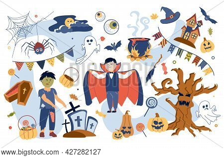 Halloween Concept Isolated Elements Set. Collection Of Children In Zombie And Vampire Costumes, Tree