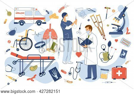 Medical Clinic Concept Isolated Elements Set. Collection Of Doctor Diagnoses, Nurse Vaccinates, Ambu