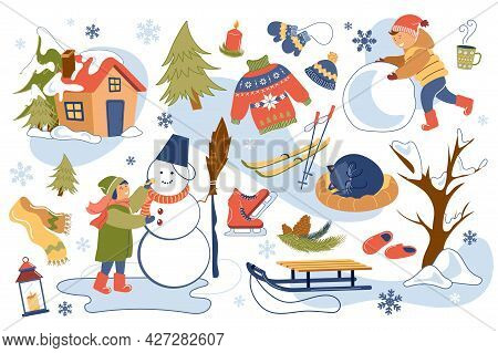 Winter Time Concept Isolated Elements Set. Collection Of Girl And Boy Make Snowman, Skiing And Sledd