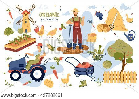Organic Production Concept Isolated Elements Set. Collection Of Farmer Harvests, Drives Tractor, Mil