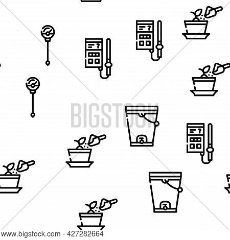 Compost Production Vector Seamless Pattern Thin Line Illustration