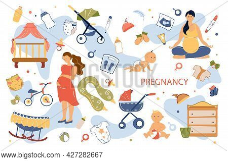 Pregnancy Concept Isolated Elements Set. Collection Of Pregnant Woman Hugging Belly, Doing Yoga, Bab