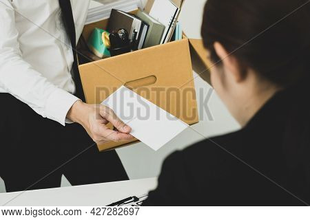 Desperately Fired Man Office Worker Employee Hands Her Employer Her Resignation Letter And Packs Her