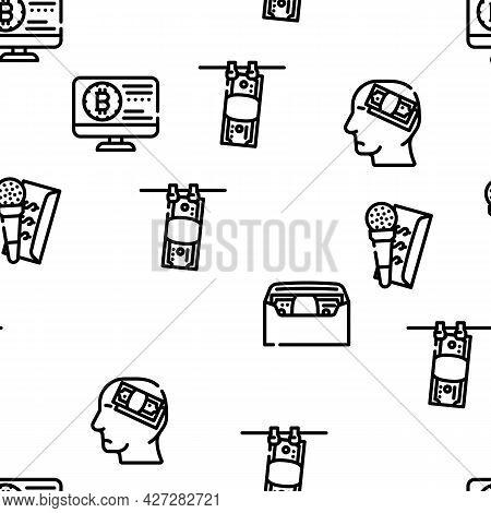 Corruption Problem Vector Seamless Pattern Thin Line Illustration