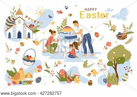 Happy Easter Concept Isolated Elements Set. Collection Of Family Paints Egg, Girl Plays With Rabbit,