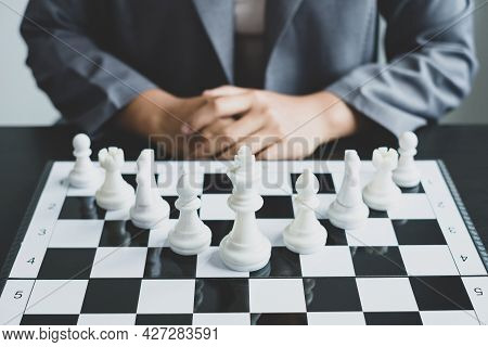 The Chess Board Shows Leadership, Hand Of Businesswoman Moving, Chess In Competition Shows Leadershi