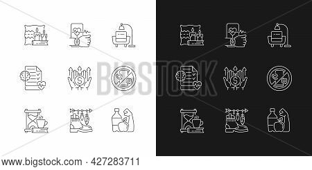Modern Lifestyle And Health Linear Icons Set For Dark And Light Mode. Cozy Interior. Minimalism. Men
