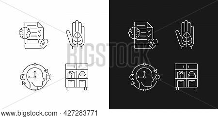 Positive Progress In Life Linear Icons Set For Dark And Light Mode. Mental Health Awareness. Green L