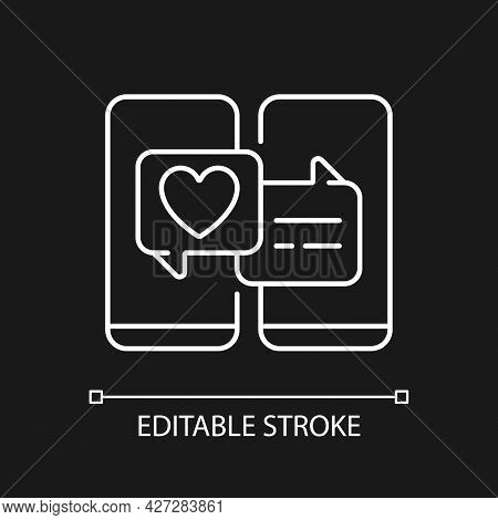 Online Dating White Linear Icon For Dark Theme. Popular Trend During Pandemic. Romantic Relations. T