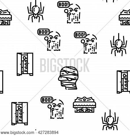Fear Phobia Problem Vector Seamless Pattern Thin Line Illustration