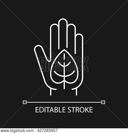 Green Lifestyle White Linear Icon For Dark Theme. Reduce Negative Impact On Planet Health. Thin Line