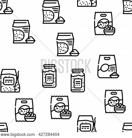 Gluten Free Products Vector Seamless Pattern Thin Line Illustration