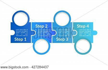 Blue Advertising Vector Infographic Template. Project Info Presentation Design Elements With Text Sp