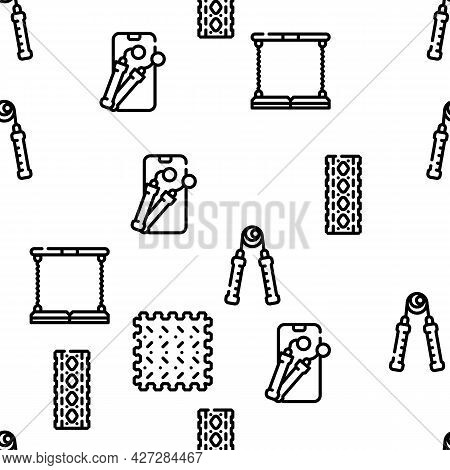 Home Gym Equipment Vector Seamless Pattern Thin Line Illustration