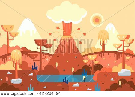 Vector Illustration With Prehistoric Landscape With Smoky Volcano, Lake, Trees And Mountains With Sn