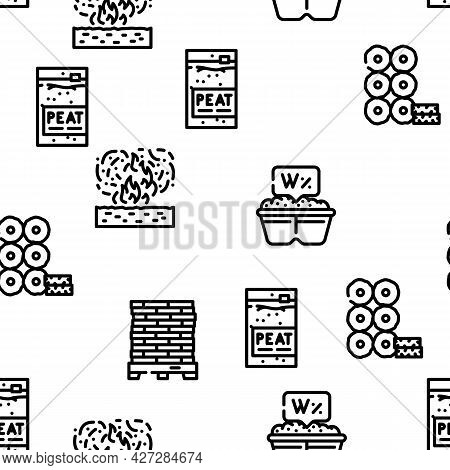 Peat Fuel Production Vector Seamless Pattern Thin Line Illustration