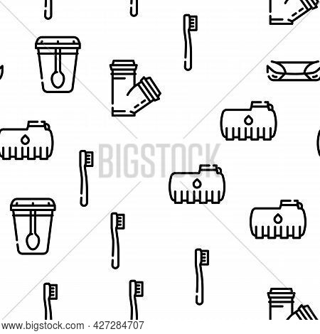 Plastic Accessories Vector Seamless Pattern Thin Line Illustration